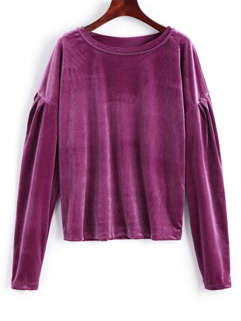 Drop Schulter Crushed Samt Sweatshirt - Lila Rot XL Mobile