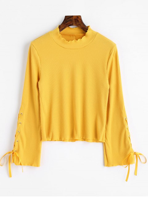 chic High Neck Lace Up Sleeve Ribbed Knitwear - YELLOW M Mobile