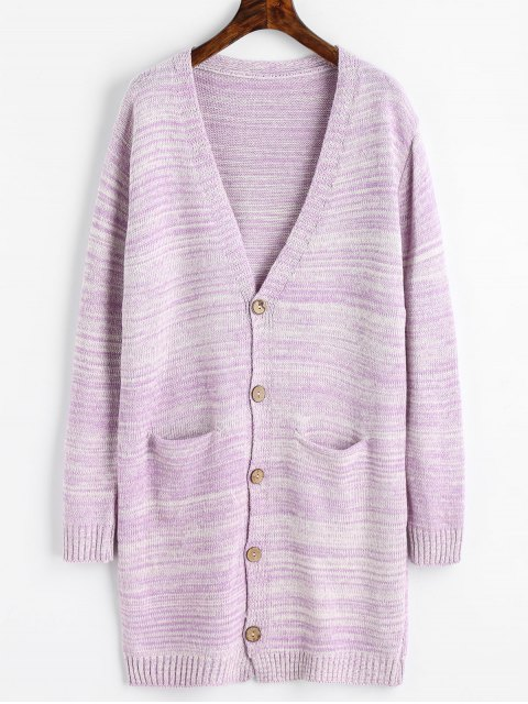 unique Plunging Neck Longline Cardigan with Pockets - LIGHT PURPLE ONE SIZE Mobile