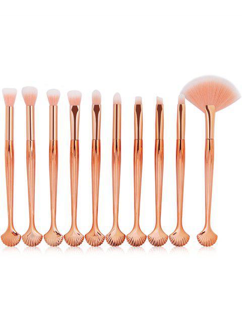 Set de cepillos de maquillaje embellecidos con forma de concha de 10 piezas - Rosa  Mobile