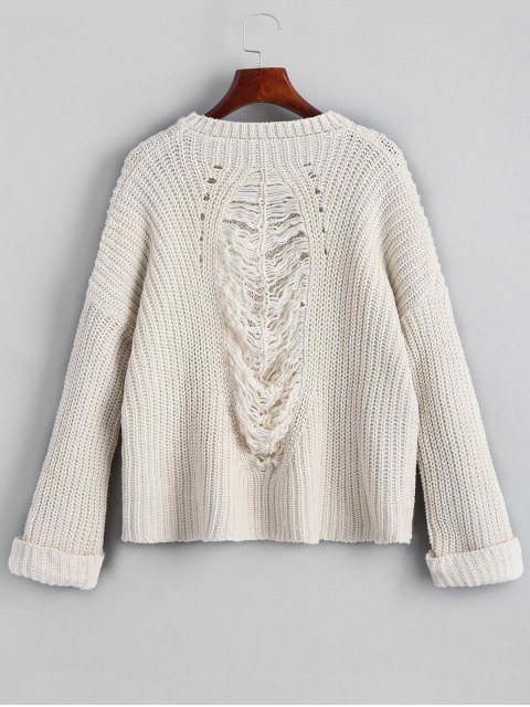 latest Oversized Chunky Destroyed Sweater - OFF-WHITE ONE SIZE Mobile
