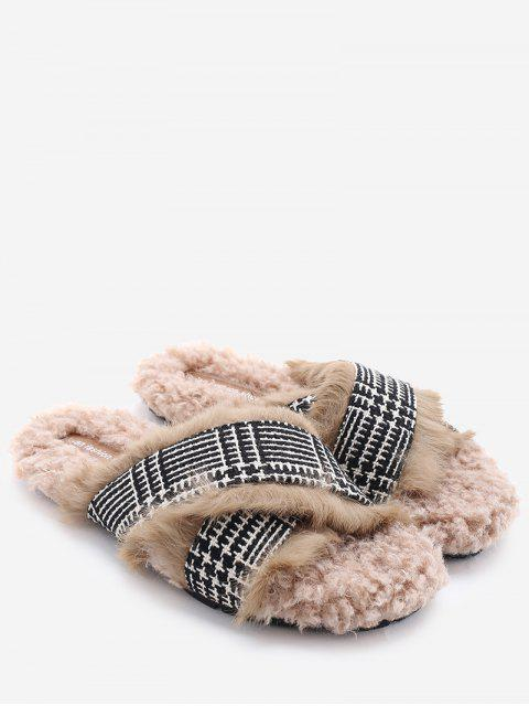 shops Houndstooth Cross Strap Faux Fur Slippers - CAMEL 38 Mobile