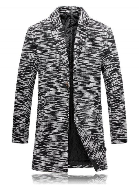 hot Lapel Knit Blends One Button Padded Coat - BLACK WHITE 2XL Mobile