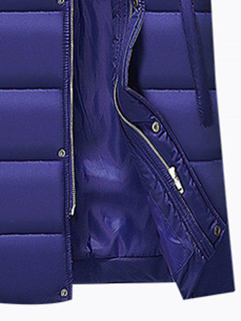ladies Hooded Applique Longline Zip Up Padded Coat - BLUE 3XL Mobile