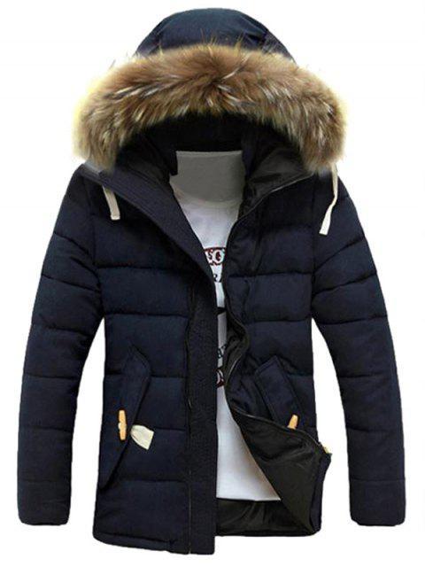 best Detachable Faux Fur Collar Zip Up Padded Coat - DEEP BLUE 2XL Mobile
