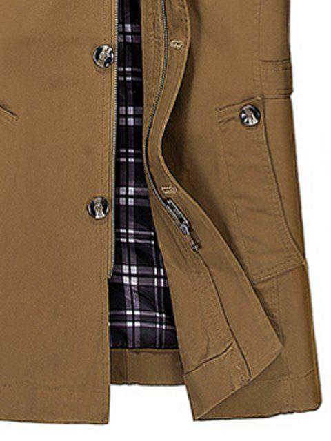 womens Hooded Multi Pockets Single Breasted Zip Up Coat - DARK KHAKI 2XL Mobile