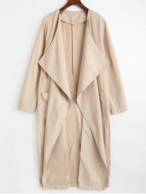 Gabardina drapeada con bolsillos y abertura trasera con bolsillos - Caqui Claro XL Mobile