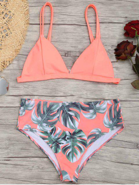 Palm Leaf Plus Size Bikini - Pink 4XL Mobile