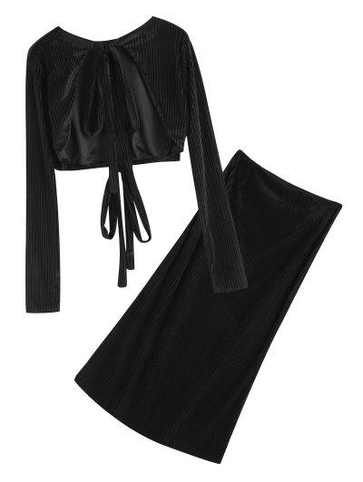 Open Back Velvet Cropped Top And Pencil Maxi Skirt - Black L