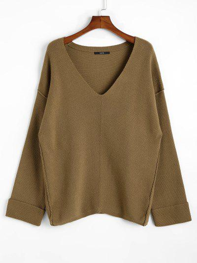 Oversized Plunging Neck Sweater - Dark Khaki