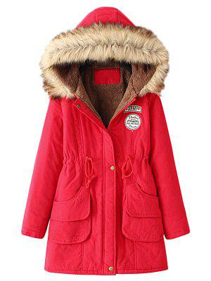 Snap Button Fur Collar Parka Coat