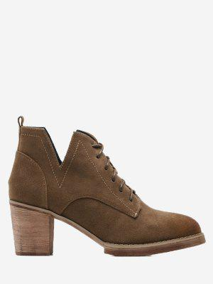 Chunky Heel Faux Suede Low Cut Anckle Boots