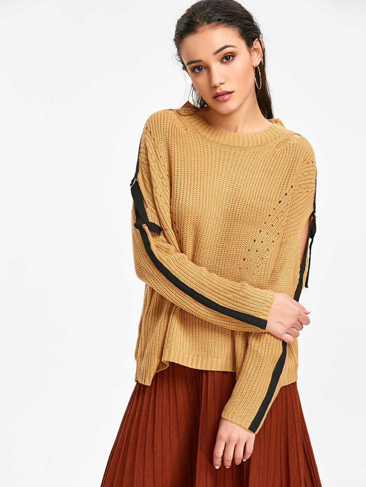 Strips Pullover Cut Sweater - CAMEL ONE SIZE