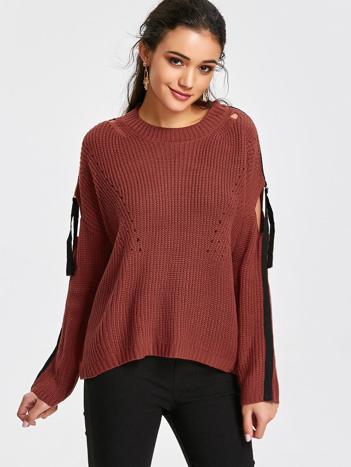 Strips Pullover Cut Sweater - BRICK-RED ONE SIZE