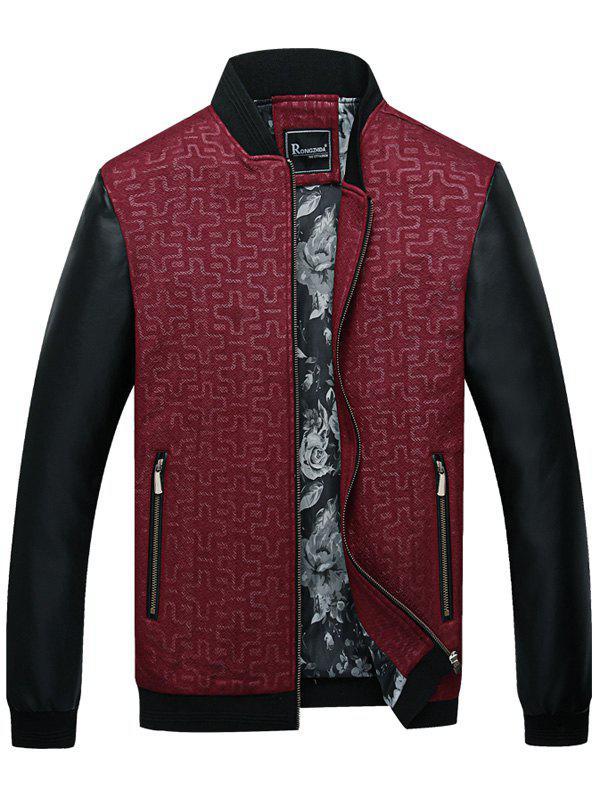 Geometric Print PU Leather Panel Zip Up Jacket 235559807