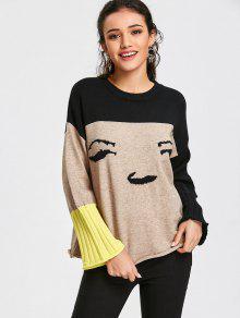 Suéter Gráfico De Color Block Jersey - Albaricoque