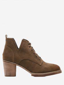 حذاء الكاحل بكعب عريض من الجلد المدبوغ مقصوص من الجانبين - براون العميق 38