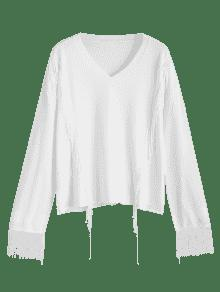 Pullover Fringed V Neck Sweater WHITE: Sweaters XL | ZAFUL