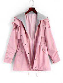 معطف بسحاب ذو جيوب وقلنسوة - زهري S