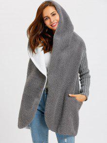 معطف بزر واحد مع غطاء الرأس - الرمادي العميق