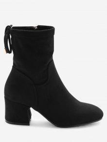 حذاء الكاحل مربوط من الخلف ذو مقدمة مستديرة وكعب مكعب - أسود 36