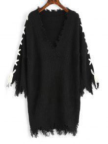 فستان سويت رباط غارق الرقبة  - أسود