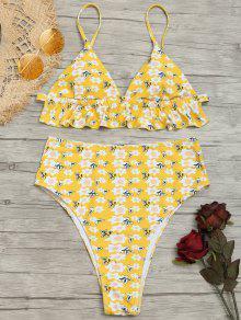 Tiny Floral Hoch Taillierte Badeanzug - Gelb S