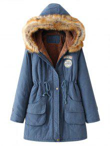 Snap Button Fur Collar Parka Coat