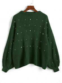 Suéter Plus-size Com Pérolas Artificiais E Mangas Lanterna - Verde