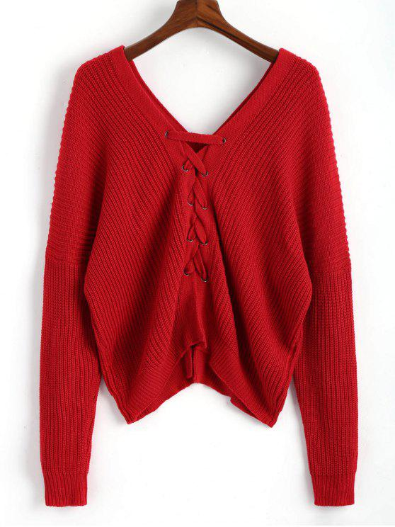 lady V Neckline Back Lace Up Pullover Sweater - RED ONE SIZE