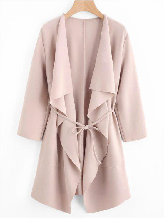 outfit Front Pockets Draped Coat - PINK L