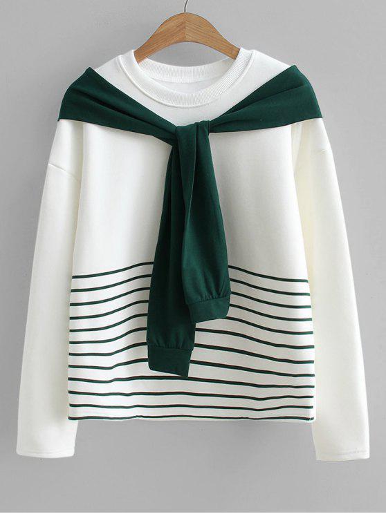 الصوف البلوز الشريط - أبيض مقاس واحد
