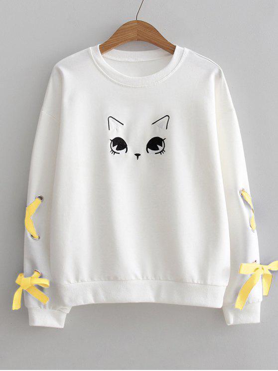 سويت شيرت رباط طباعة القط صوف - أبيض مقاس واحد