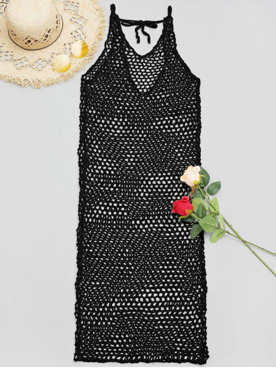 trendy V Neck Crochet Cover Up Dress - BLACK ONE SIZE