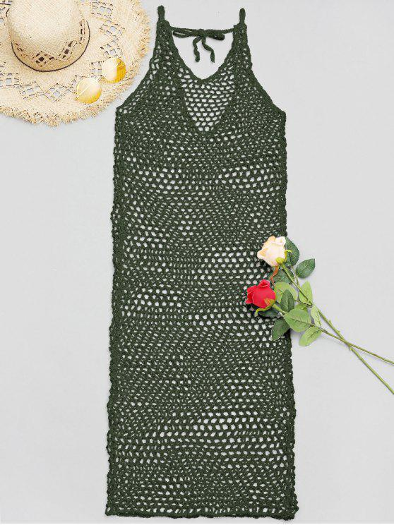 fancy V Neck Crochet Cover Up Dress - ARMY GREEN ONE SIZE