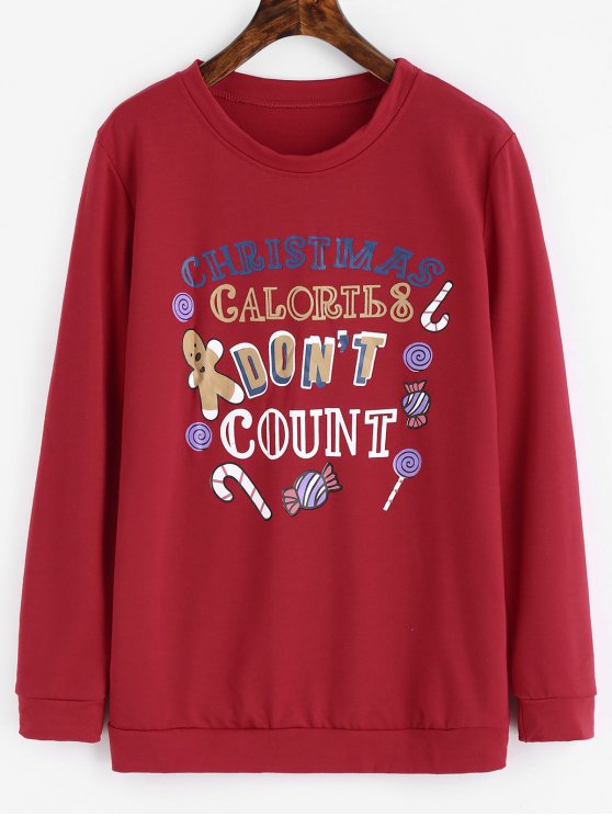 buy Letter Graphic Christmas Sweatshirt - RED XL