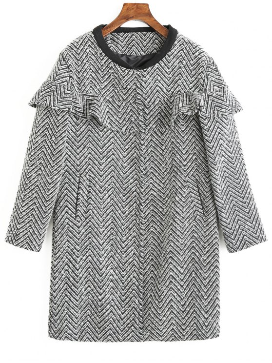 outfit Frilled Zig Zag Tweed Coat - COLORMIX XL