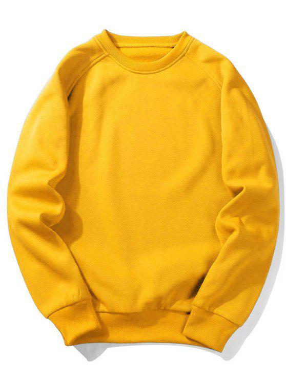 trendy Fleece Crew Neck Sweatshirt - YELLOW XL
