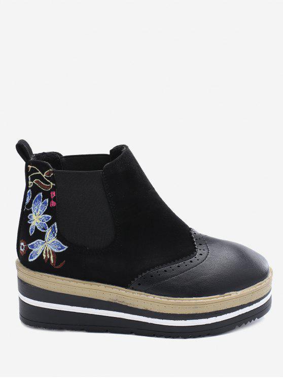 Wingtip Flower Embroidery Platform Boots - Black 35 cheap online shop rfRiXpea