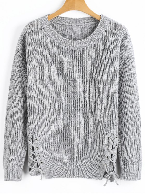 outfit Side Lace Up Ribbed Texture Sweater - GRAY ONE SIZE