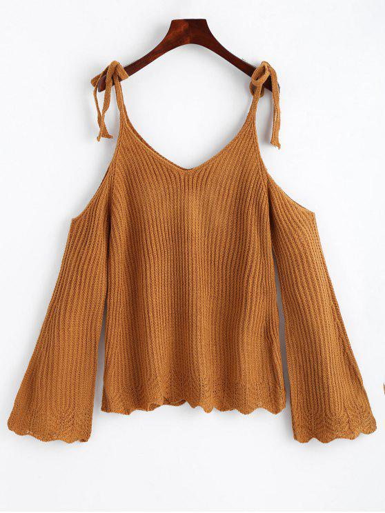 shops Cold Shoulder Flare Sleeve Cami Knitted Top - GINGER ONE SIZE