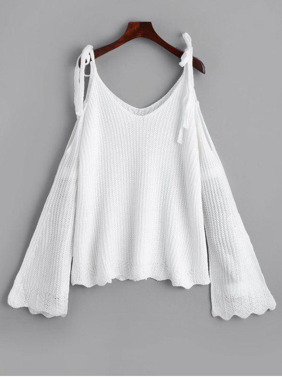 trendy Cold Shoulder Flare Sleeve Cami Knitted Top - WHITE ONE SIZE