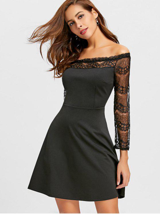 Schulterfreies Spitze Flare Kleid - Schwarz M