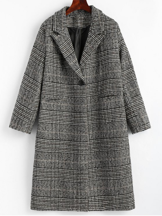 affordable Back Slit One Button Checked Coat - CHECKED L