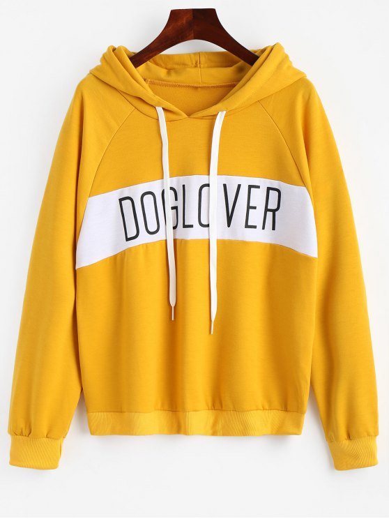 shop Letter Pattern Hoodie - BRIGHT YELLOW S