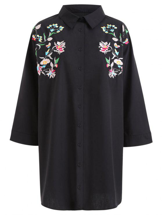 Tunic floral embroidered plus size shirt black