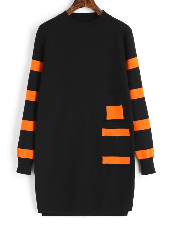 lady Long Sleeve Stripes Panel Sweater Dress - BLACK ONE SIZE