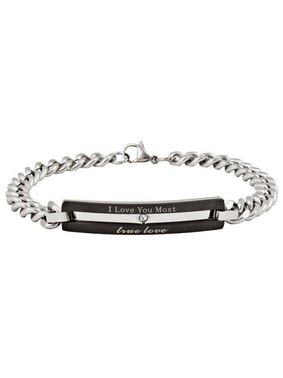 outfits Romantic Letter Carving Embellished Titanium Steel Bracelet - BLACK