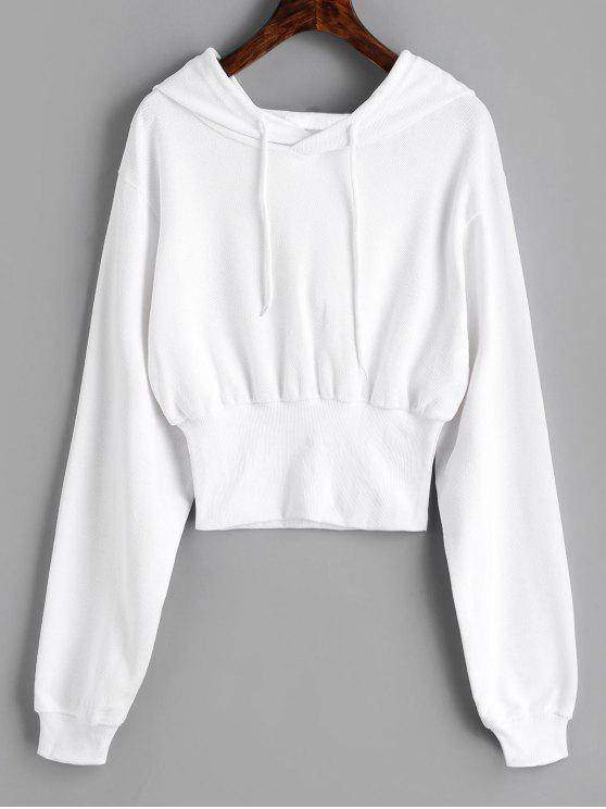 latest Ribbed Trim Textured Hoodie - WHITE M