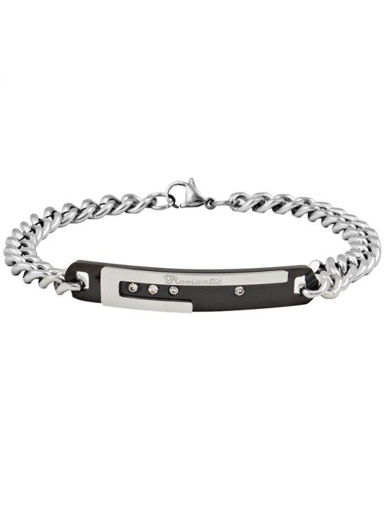 chic Romantic Letter Carved Titanium Steel Couples Bracelet - BLACK